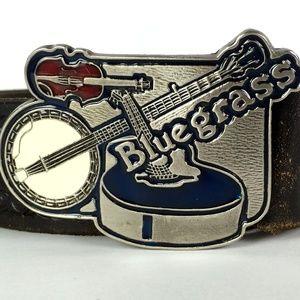 Bluegrass Vintage Belt and Buckle Red Blue Enamel